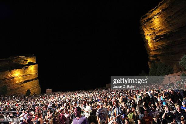 Atmosphere during the Umphrey's McGee and Railroad Earth concert at Red Rocks Amphitheatre on September 14 2012 in Morrison Colorado