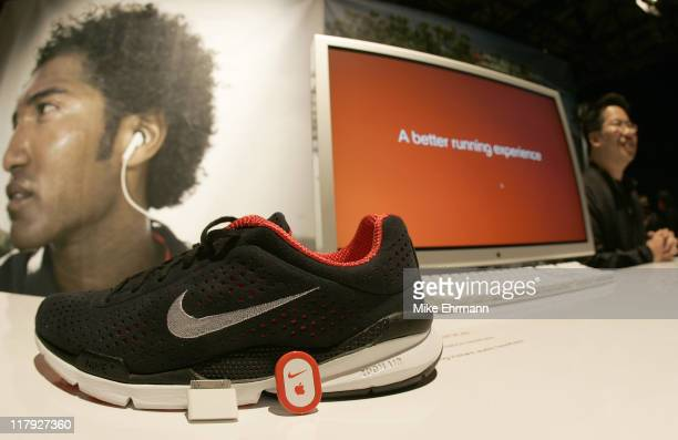 Atmosphere during the unveiling of a partnership between Nike and Apple announcing the NikeiPod which combines the Nike Air Zoom Moire and the Apple...