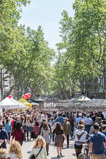 Atmosphere in Las Ramblas at Sant Jordi's day on April 23 2015 in Barcelona Spain