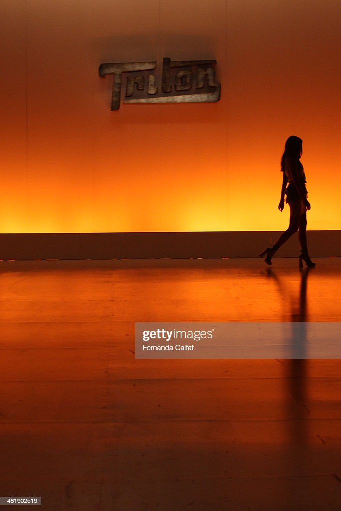 Atmosphere of the runway at Triton show during Sao Paulo Fashion Week Summer 2014/2015 at Parque Candido Portinari on April 1, 2014 in Sao Paulo, Brazil.