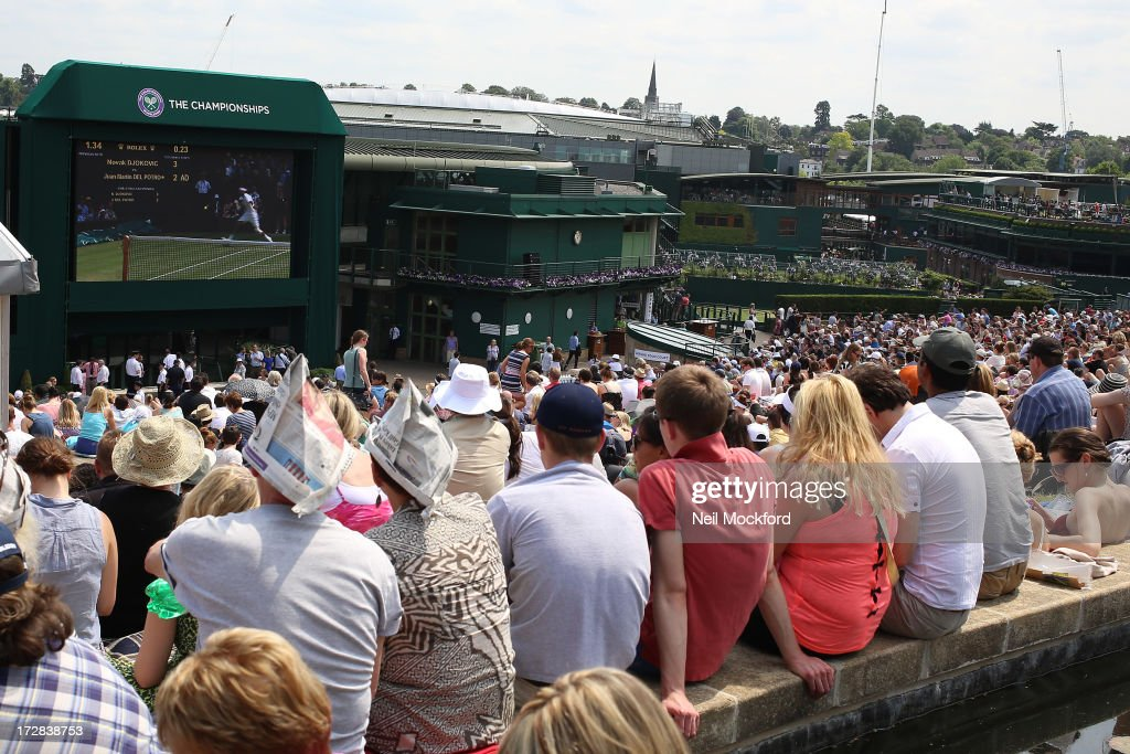 Atmosphere on 'Murray Mound' at Wimbledon on Men's Semi-Final day on July 5, 2013 in London, England.