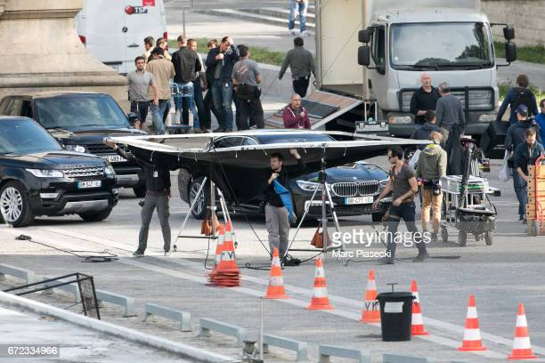 Atmosphere on the set of 'MissionImpossible 6 Gemini' on April 24 2017 in Paris France