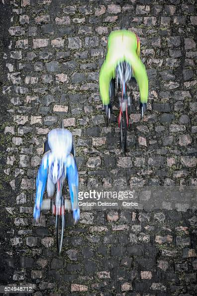 Atmosphere shot as bike riders go over the cobbles in France Sunday April 12th 2015 during the 113th edition of ParisRoubaix road cycling race