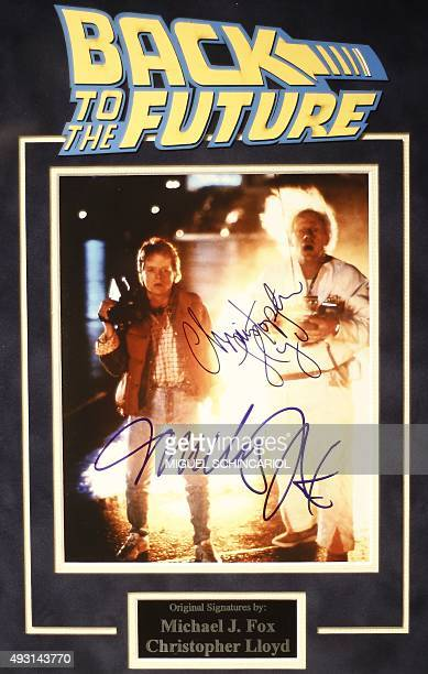 Atographed movie poster is displayed during a celebration event of the 30th anniversary of the movie 'Back to the Future' in Sao Paulo Brazil on...