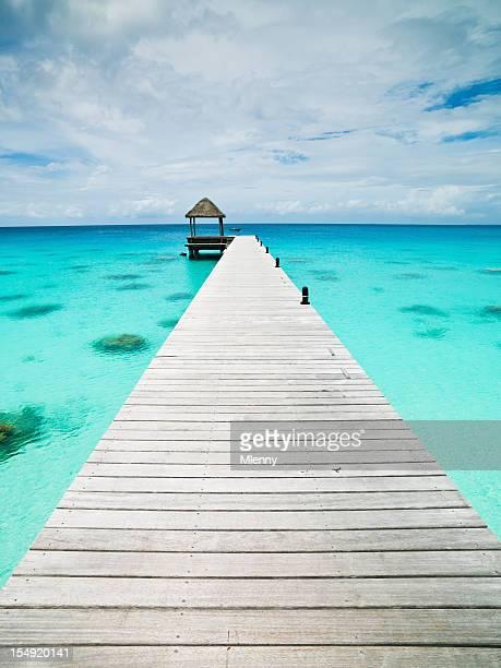 Atoll ponton eaux Turquoise Îles Tuamotu Fakarava Polynésie française