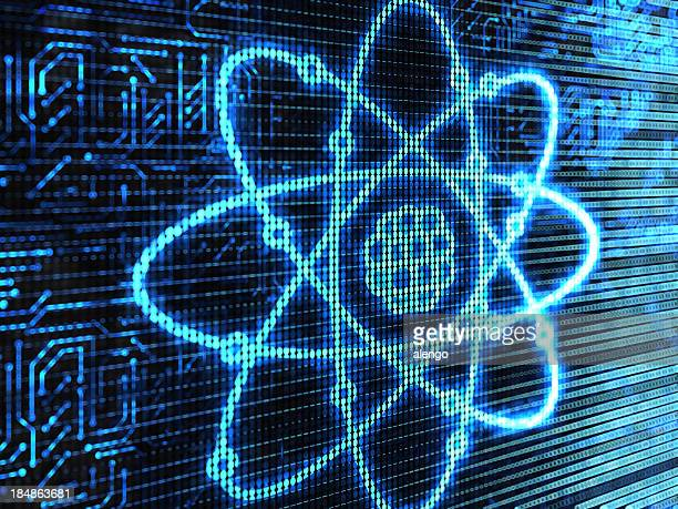 Atom background in blue with nucleus core