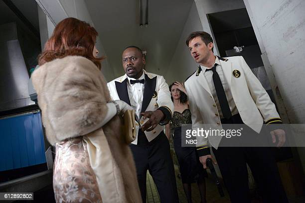 TIMELESS 'Atomic City' Episode 102 Pictured Malcolm Barrett as Rufus Carlin Abigail Spencer as Lucy Preston Matt Lanter as Wyatt Logan