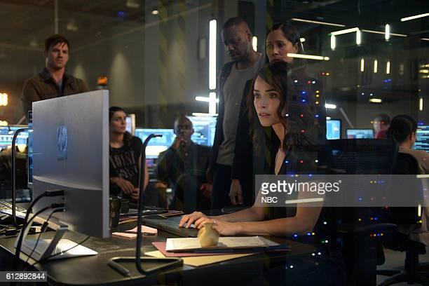 TIMELESS 'Atomic City' Episode 102 Pictured Matt Lanter as Wyatt Logan Claudia Doumit as Jiya Paterson Joseph as Connor Mason Malcolm Barrett as...