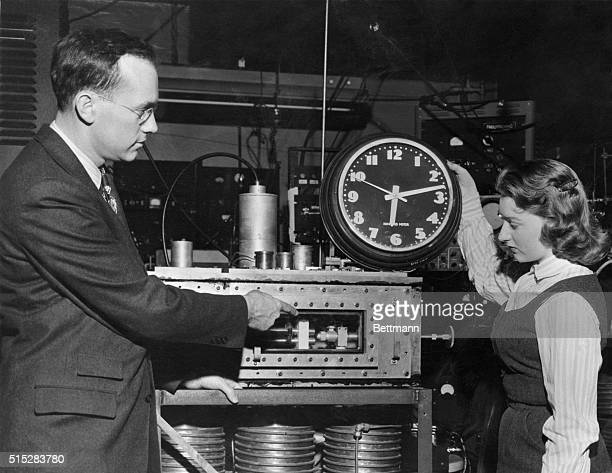 Atomic Clock Clock Some Contrast Dr Charles H Townes Columbia University professor who invented the 'Maser' shows Marianne MacDonald how the atomic...