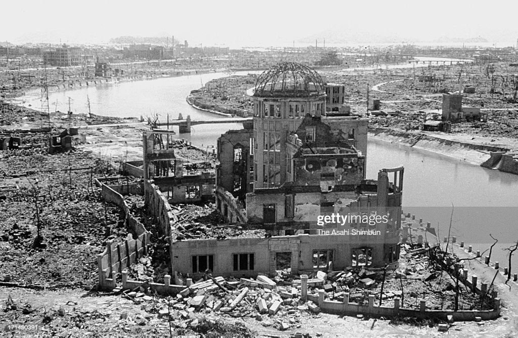 A Atomic Dome, formerly called Hiroshima Prefectural Industrial Promotion Hall, 260 meters from the Hiroshima atomic bomb epicenter, is seen in September 1945 in Hiroshima, Japan. The world's first atomic bomb was dropped on Hiroshima on August 6, 1945 by the United States at the end of World War II, killing an estimated 70,000 people instantly. Three days later another atomic bomb was dropped on Nagasaki. With the effects of radiation, many thousands more dying over the following years and the number of the victims are thought to be approximately 340,000 people.