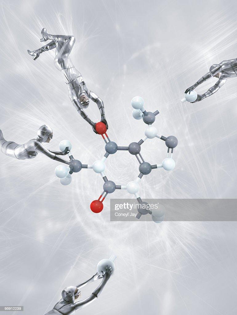 atomic engineering of a caffeine molecule : Stock Photo