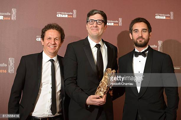 Aton Soumache Mark Osborne and Dimitri Rassam pose with the award of Best Animated Feature for the movie 'Le Petit Prince' during The Cesar Film...