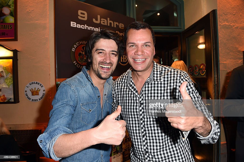 Ator Adrian Cem and Dave Kaufmann attend 9 Years Anniversary Bachmaier Hofbraeu at Bachmaier Hofbraeu on May 10, 2014 in Munich, Germany.