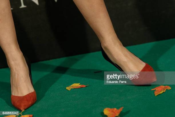 Atress Sara Salamo shoes detail attends the 'El guardian invisible' premiere at Capitol cinema on March 1 2017 in Madrid Spain