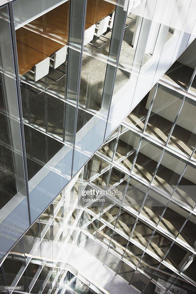 Atrium of modern glass office building