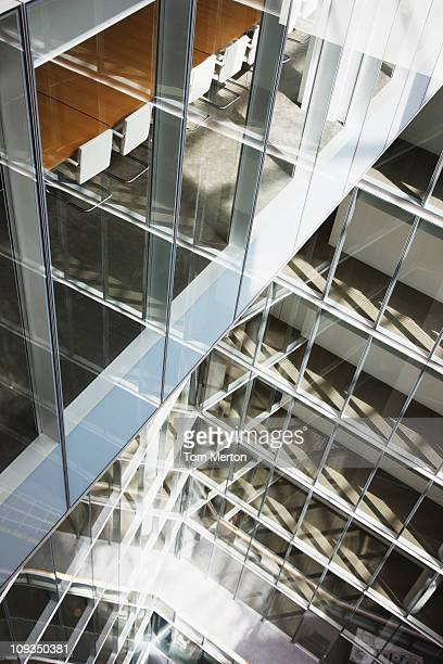 Atrium of modern glass office building