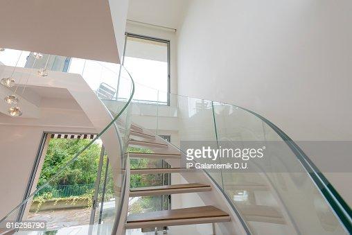 Atrium white interior with spiral staircase : Foto de stock
