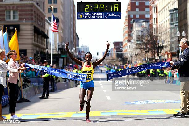 Atsede Baysa of Ethiopa crosses the finish line to win the 120th Boston Marathon on April 18 2016 in Boston Massachusetts