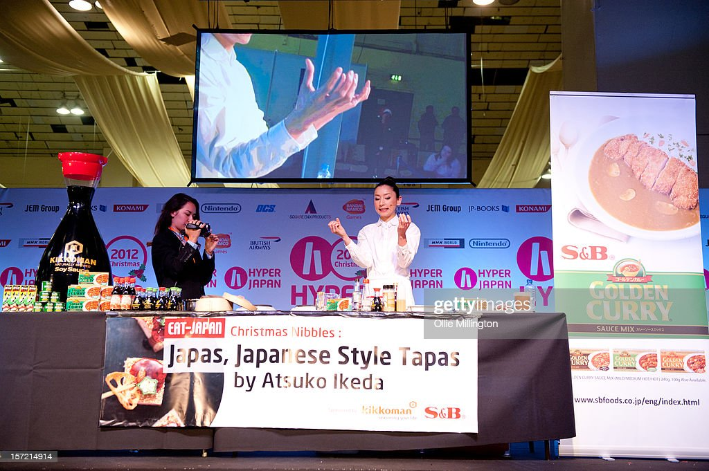 Atsuko Ikeda Japanese chef Atsuko Ikeda presentig the Christmas Nibbles: Japas, Japanese Style Tapas class during the Hyper Japan event.The show is the UK's largest Japanese Culture event, with trade stands selling clothing, anime, Japanese food, cult action figures, swords and a large variety of video games merchandise. Many attendees dress up as anime characters and in the lolita fashion with the weekend being a prominent UK date on the global Cosplay scene at Earls Court on November 24, 2012 in London, England.