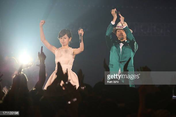 Atsuko Maeda and Nobuaki Kaneko perfom onstage during MTV VMAJ 2013 at Makuhari Messe on June 22 2013 in Chiba Japan