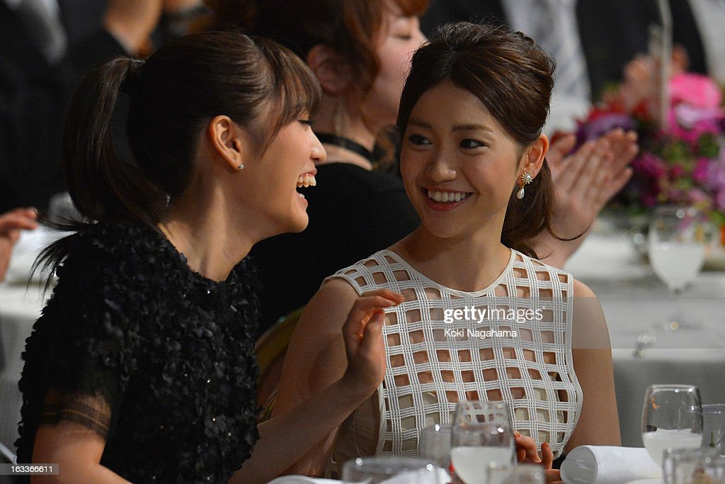 Atsuko Maeda and Yuko Oshima talk during the 36th Japan Academy Prize Award Ceremony at Grand Prince Hotel Shin Takanawa on March 8, 2013 in Tokyo, Japan.