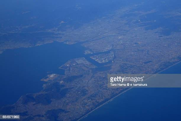 Atsumi Peninsula, daytime aerial view from airplane