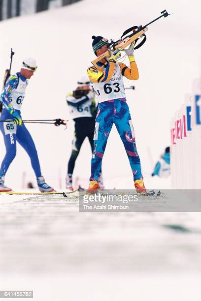 Atsushi Kazama of Japan competes in the Biathlon Men's 10km Sprint during day eleven of the Nagano Winter Olympic Games at Nozawa Onsen Ski Resort on...