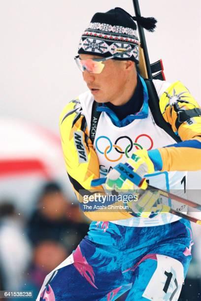 Atsushi Kazama of Japan competes in the Biathlon Men's 4x75km Relay during day fourteen of the Nagano Winter Olympic Games at Nozawa Onsen Ski Resort...