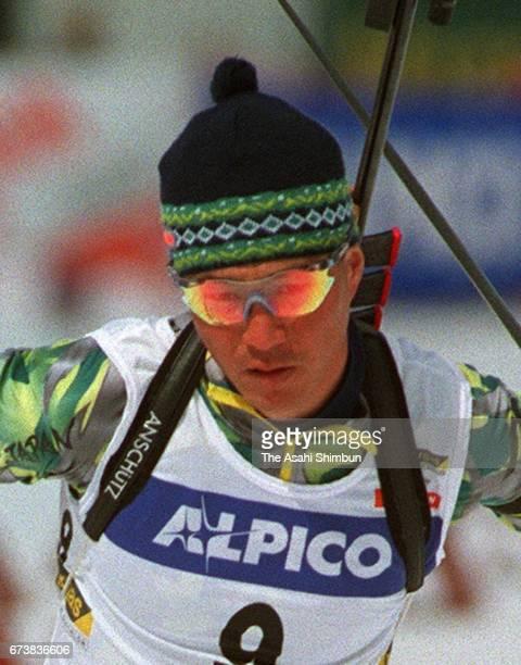 Atsushi Kazama of Japan competes in the Men's 10km Sprint during the IBU Biathlon World Cup Nozawa Onsen on March 8 1997 in Nozawaonsen Nagano Japan