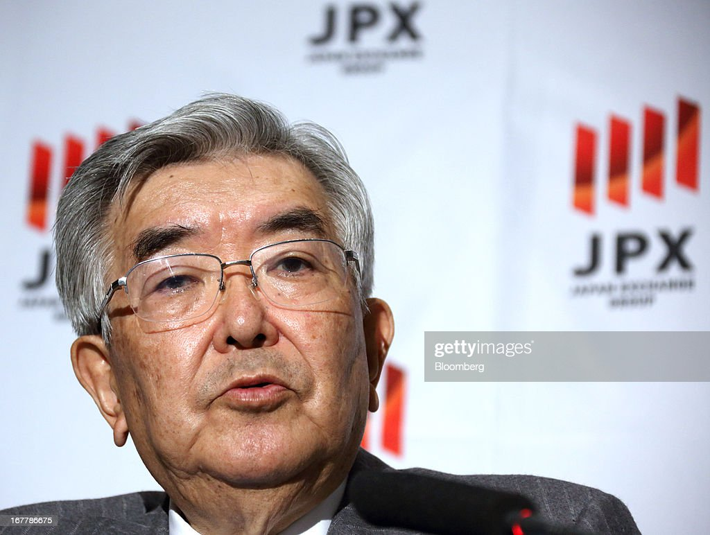 Atsushi Saito, chief executive officer of Japan Exchange Group Inc., speaks during a news conference at the Tokyo Stock Exchange in Tokyo, Japan, on Tuesday, April 30, 2013. Japan Exchange Group Inc. forecast full-year profit that was almost half of analyst estimates in its first annual earnings report after the merger of the Tokyo Stock Exchange Group Inc. and Osaka Securities Exchange Co. Photographer: Tomohiro Ohsumi/Bloomberg via Getty Images
