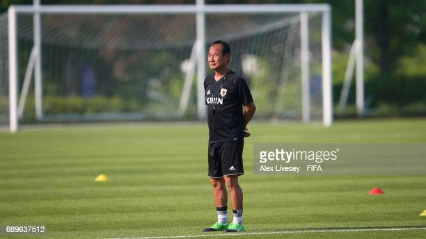 Atsushi Uchiyama the coach of Japan looks on during a training session at the Daejeon World Cup Stadium training pitch during the FIFA U20 World Cup...