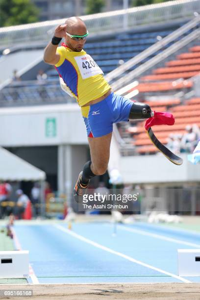 Atsushi Yamamoto competes in the Men's Long Jump T42 during day one of the Japan Para Athletic Championships at Komazawa Stadium on June 10 2017 in...
