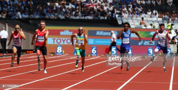 LR Atsushi Yamamoto Daniel Wagner Scott Reardon Desmond Jackson 9USA and David Henson compete in Men's 100m T42 Round 1 Heat 2during IPC World Para...