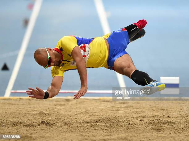 Atsushi Yamamoto of Japan competes in Men's Long Jump final during the 9th Fazza International IPC Athletics Grand Prix Competition World Para...