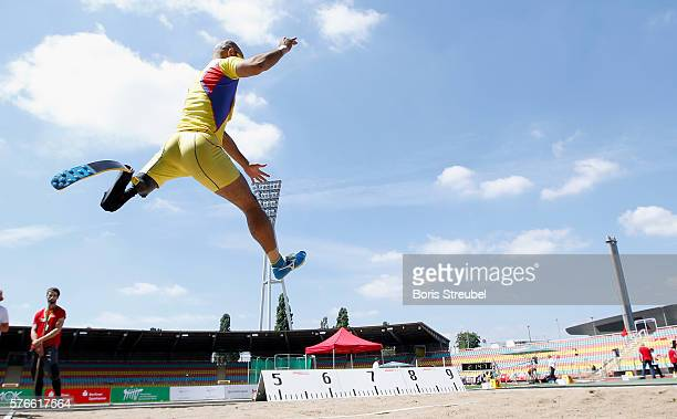Atsushi Yamamoto of Japan competes in the long jump final starting class TF42 during the IPC Athletics Grand Prix Berlin 2016 at...