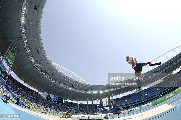 Atsushi Yamamoto of Japan competes in the Men's Long Jump T42 final at Olympic Stadium on day 10 of the Rio 2016 Paralympic Games at on September 17...