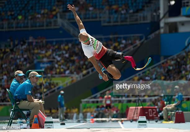 TOPSHOT Atsushi Yamamoto of Japan competes in the Men's Long Jump T42 Final at the Olympic Stadium during the Paralympic Games in Rio de Janeiro...