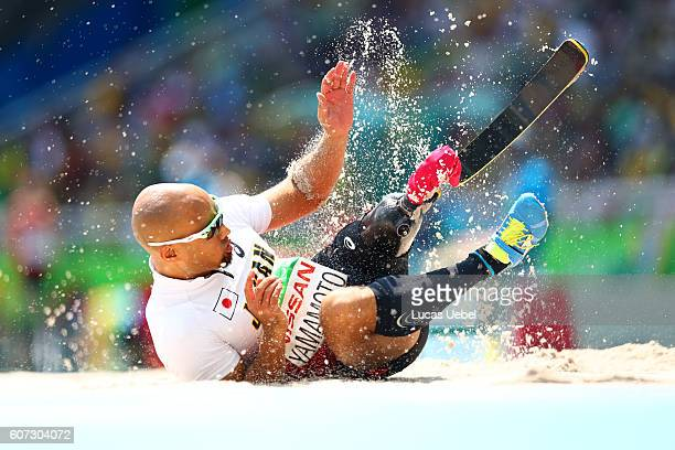 Atsushi Yamamoto of Japan competes in the Men's Long Jump T42 final during day 10 of the Rio 2016 Paralympic Games at the Olympic Stadium on...