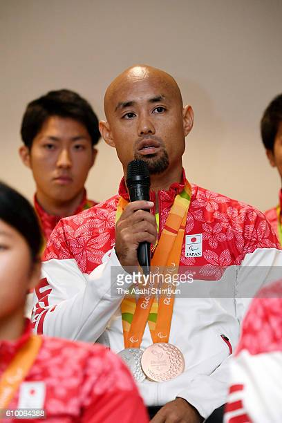 Atsushi Yamamoto speaks during a press conference prior to the Japan Paralympic delegation disbandment ceremony on September 19 2016 in Rio de...