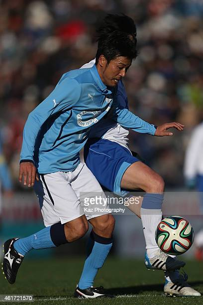 Atsushi Yanagisawa of J Amigos in action during the Daisuke Oku Memorial Match between J Amigos and Yokohama Friends at Yamaha Stadium on January 18...