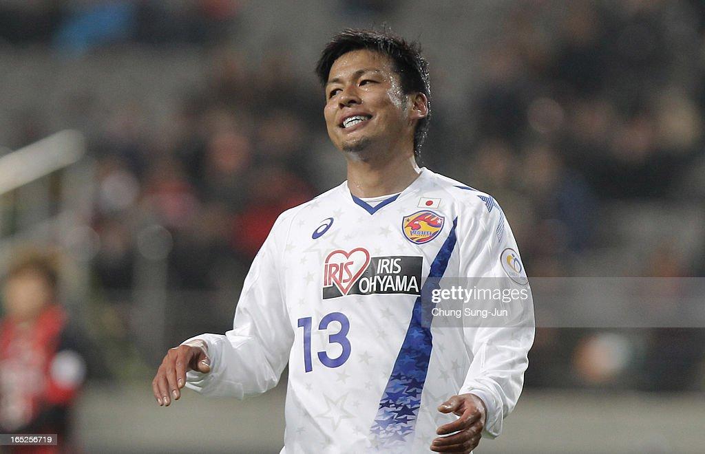 Atsushi Yanagisawa of Vegalta Sendai reacts during the AFC Champions League Group E match between FC Seoul and Vegalta Sendai at Seoul World Cup Stadium on April 2, 2013 in Seoul, South Korea.