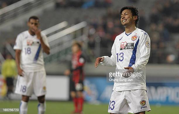 Atsushi Yanagisawa of Vegalta Sendai reacts during the AFC Champions League Group E match between FC Seoul and Vegalta Sendai at Seoul World Cup...