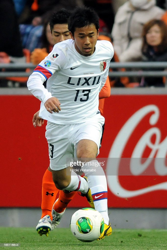 Atsutaka Nakamura of Kashima Antlers in action during the J.League match between Omiya Ardija and Kashiwa Reysol at Nack 5 Stadium Omiya on March 30, 2013 in Saitama, Japan.