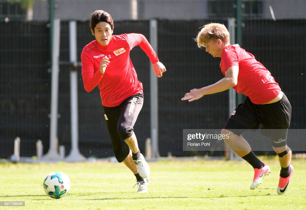 Atsuto Uchida and Simon Hedlund of 1 FC Union Berlin during the Trainnigs on august 23, 2017 in Berlin, Germany.