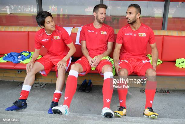 Atsuto Uchida Christoph Schoesswendter and Akaki Gogia of 1 FC Union Berlin before the game between Union Berlin and Arminia Bilefeld on august 27...