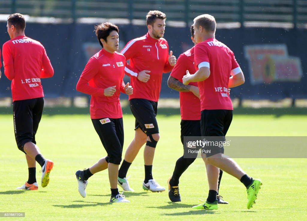 Atsuto Uchida, Dennis Daube and Felix Kroos of 1 FC Union Berlin during the Trainnigs on august 23, 2017 in Berlin, Germany.