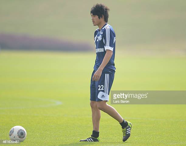 Atsuto Uchida is seen during a FC Schalke 04 training session at ASPIRE Academy for Sports Excellence on January 10 2014 in Doha Qatar