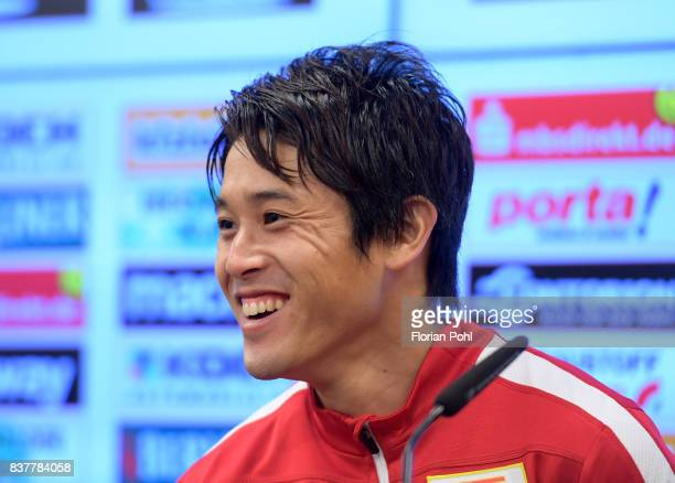 Atsuto Uchida of 1FC Union Berlin smiles during the presentation on august 23 2017 in Berlin Germany