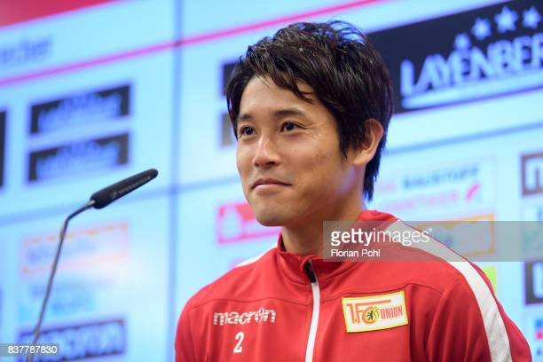 Atsuto Uchida of 1FC Union Berlin speaks during the presentation on august 23 2017 in Berlin Germany