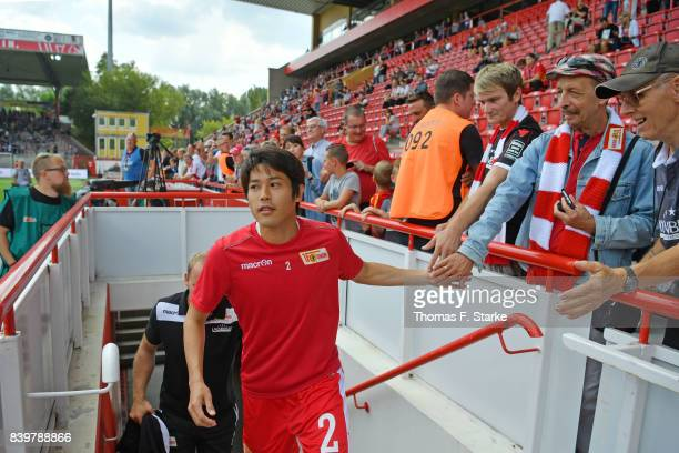 Atsuto Uchida of Berlin enters the pitch prior to the Second Bundesliga match between 1 FC Union Berlin and DSC Arminia Bielefeld at Stadion An der...